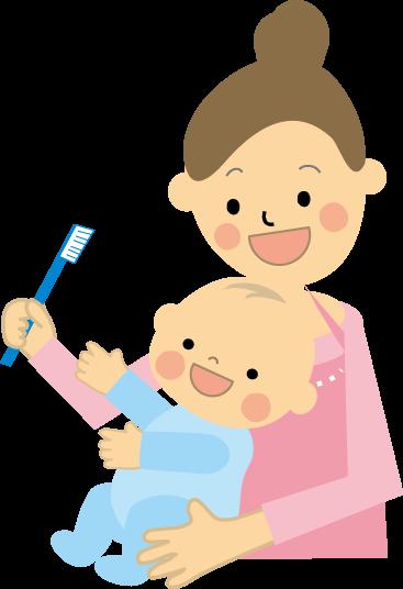 子供の歯磨きするお母さん