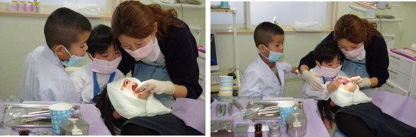器具を触る小さな歯医者さん