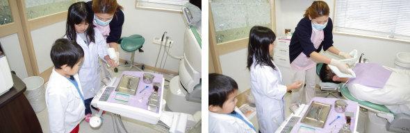 パパを診察する歯医者さん