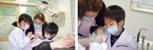 鏡で奥歯の診察をする歯医者さん