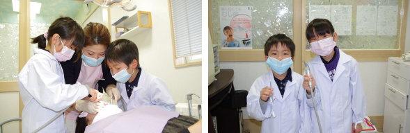記念写真を撮るかわいい歯医者さんたち