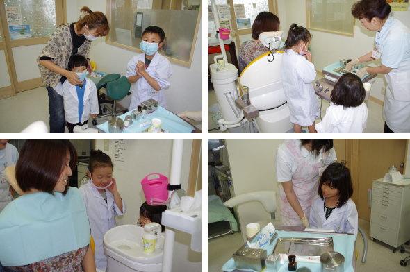前掛けとタオルを掛ける小さな歯医者さん